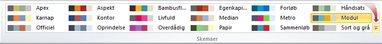 Flere farveskemaer i Publisher 2010