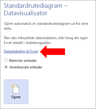 Valg af linket til Excel-dataskabelonen