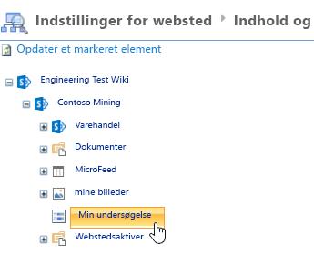 I Site Manager-vinduet skal du klikke på Undersøgelse på værktøjslinjen Hurtig start