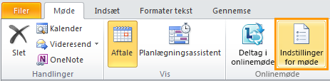 Billede af båndet i Outlook