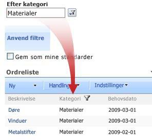 Webdelen Foretrukket filter filtrerer ordreoversigten efter materiale.