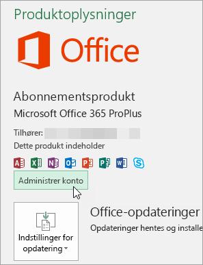 Skærmbillede af valg af Administrer konto på siden Konto i Office-skrivebordsprogram