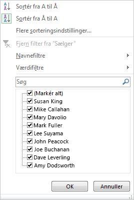 Indstillinger for filtrering og sortering for et pivotdiagram