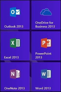 Programfeltet for OneDrive for Business 2013 i Windows 8