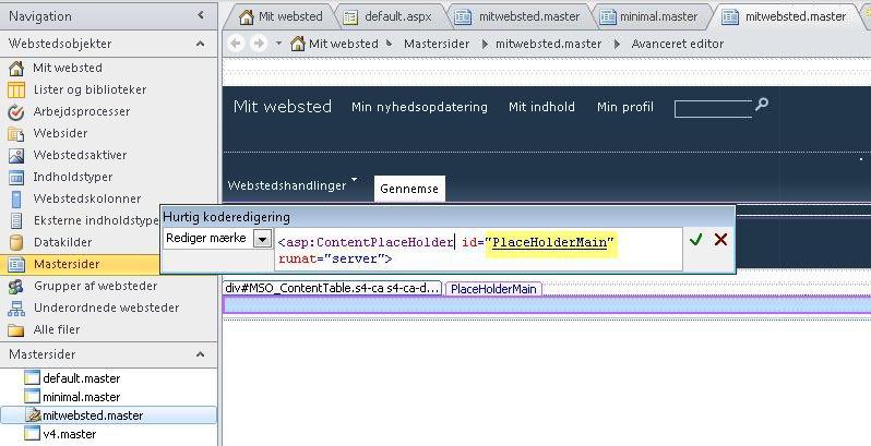 Kontrolelementet PlaceHolderMain erstattes af hver enkelt indholdsside, når mastersiden for Mit websted vises i en browser.