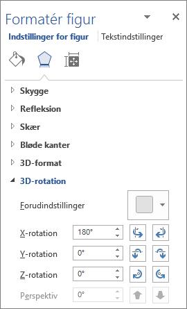 X-rotation på fanen Effekter