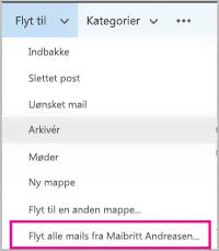 Flyt alle mails fra en bestemt afsender