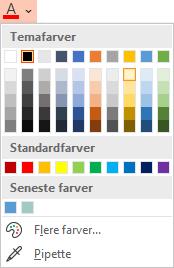 Vælg den nedadgående pil ud for knappen Skriftfarve for at åbne menuen med farver