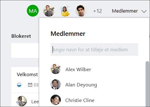 Skærmbilledet capture: Viser, mens du skriver en gæst navn, identificerer teamplanlægning gæst.