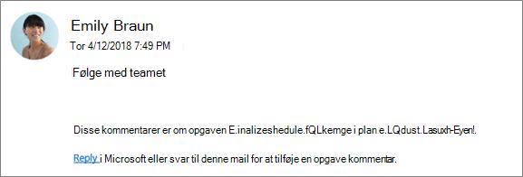 Skærmbilledet capture: Viser en gruppe mail, hvor en kollega svare til den første kommentar.