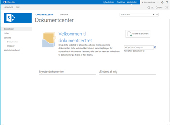 Webstedsskabelon til dokumentcenter