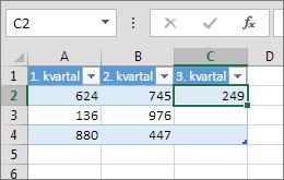 Hvis du angiver en værdi i en celle til højre for tabellen, tilføjes der en kolonne