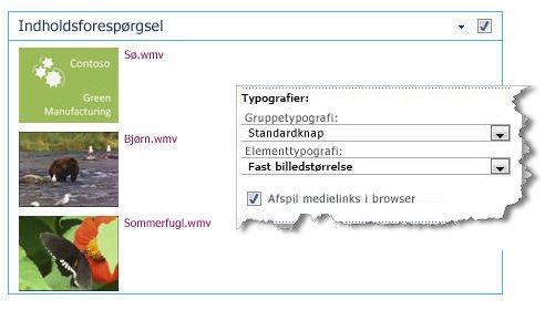 Webdelen Indholdsforespørgsel konfigureret med en fast billedstørrelse
