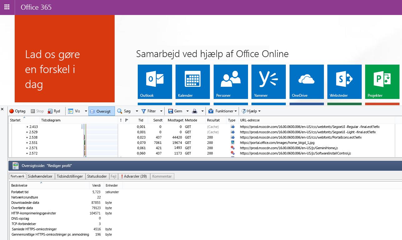 HTTPWatch, som viser fanen Netværk for en sideindlæsning af Office 365-hjemmesiden.