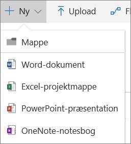 Menuen Ny i OneDrive