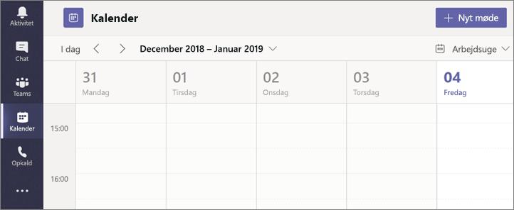Vælg Kalender, og vælg så Nyt møde.
