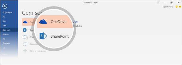 OneDrive- og SharePoint-placeringer, hvor dokumentet gemmes, er fremhævet