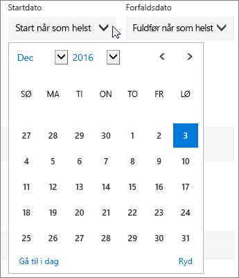 Skærmbillede af den udvidede startdatomenu for en planner-opgave.
