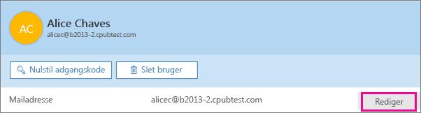Vælg Rediger ud for mailadresse