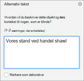 Ruden alternativ tekst i Word