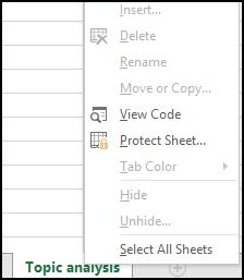 Indstillinger til at arbejde med et ark er ikke tilgængelige i en låst projektmappe