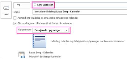 Invitation til at dele mailpostkasse internt - feltet Til og indstillingen Detaljer