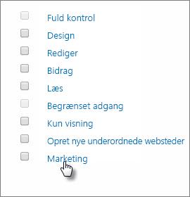 Vælg et tilladelsesniveau, der hedder Marketing.