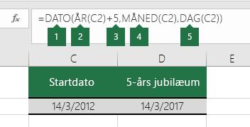Beregn en dato, der er baseret på en anden dato