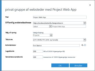 Privat gruppe af websteder med Project Web App