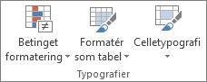Gruppen Typografier under fanen Startside