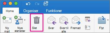 Klik på knappen Slet under fanen Startside