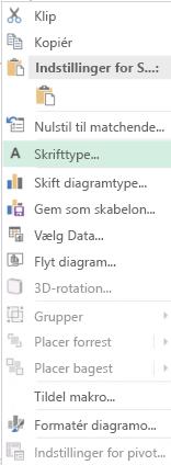 Skærmbillede af indstillinger, der er tilgængelige fra genvejsmenuen efter markering af kategoriaksenavne, herunder fremhævet mulighed for skrifttype.