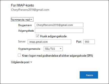Vælg server indstillinger for at ændre dit Brugernavn, din adgangskode og server indstillingerne.