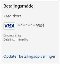 Afsnittet betalingsmetode på siden med abonnement, der viser linket Opdater betalingsoplysninger.