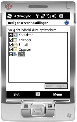 Markér afkrydsningsfeltet Sms i Windows Mobile 6.5
