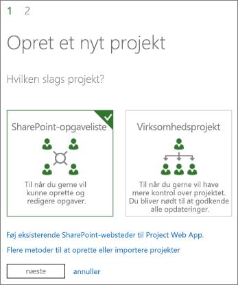 Oprette et nyt projekt