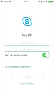 Logonskærm for Skype for Business på iOS