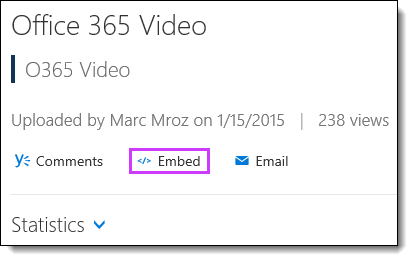Office 365 Video integreringskoden
