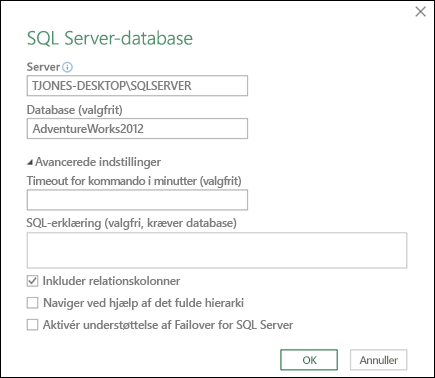 Dialogboksen Power Query i SQL Server-databaseforbindelse