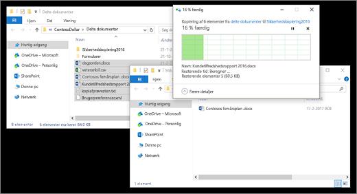 kopiering af filer mellem to Stifinder-vinduer