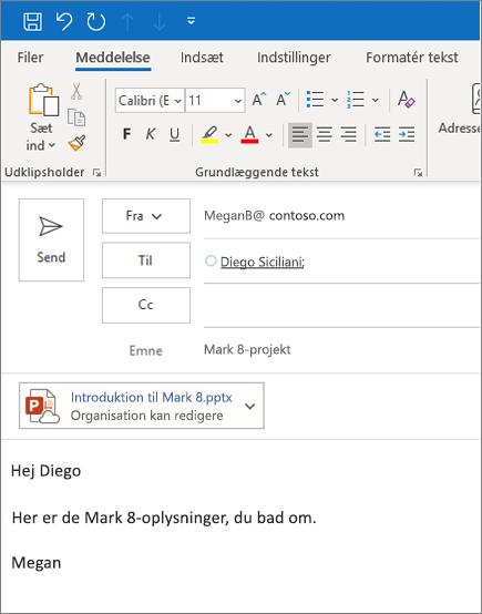 Del en fil som en vedhæftet fil