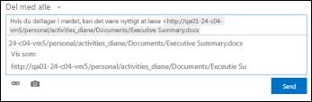 URL-adresse til dokument indsat i et nyhedsopdateringsindlæg