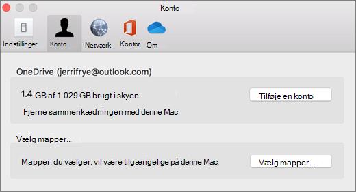 Skærmbillede af at tilføje en konto i OneDrive-indstillinger på en Mac