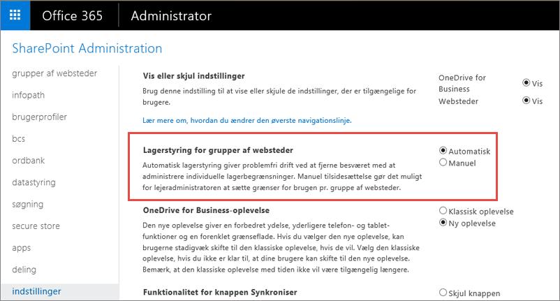Skærmen Indstillinger for SharePoint Online i Office 365 med Administration af gruppe af websteder fremhævet