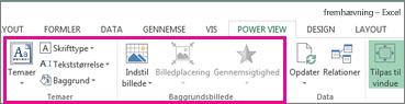Værktøjer til rapportformatering i Power View