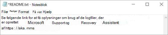 Et billede af Læs mig-filen til Microsoft Support- og genoprettelsesassistenten åbnet i Notesblok.
