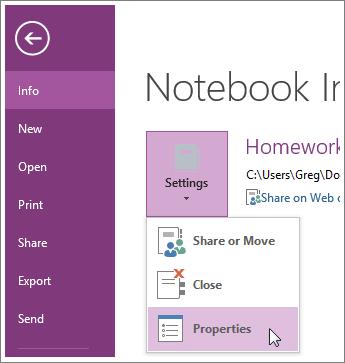 Du kan opgradere til den seneste version af OneNote direkte fra menuen Filer.