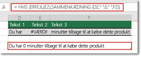 Hvis og fejl-funktioner, der bruges som en løsning til at sammenkæde en streng med #VALUE! fejl