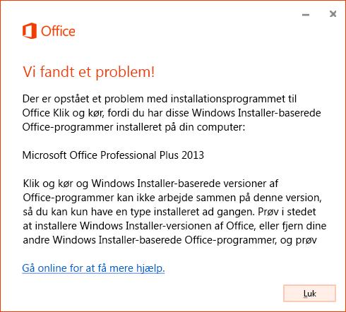 Fejl, når du forsøger at installere Klik og kør over MSI-installer