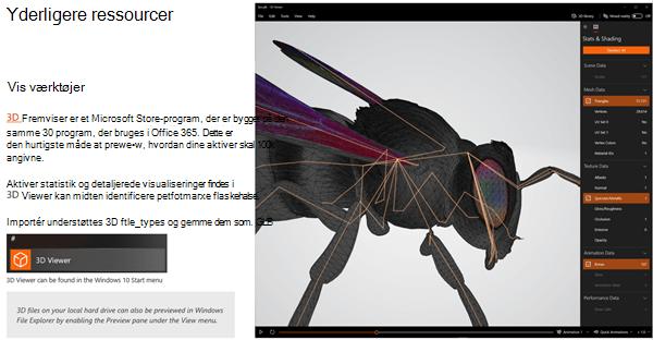 Skærmbillede af afsnittet flere ressourcer i retningslinjerne for 3D-indhold